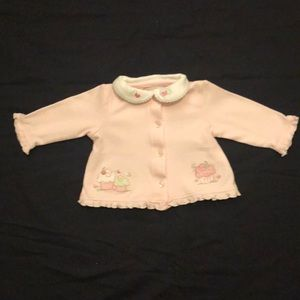 Little Me collared pink sweater jacket 3 months